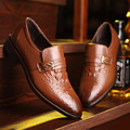 New 2017 Men's Dress Wedding Shoes Fashion Style Man Genuine Leather Bussines Shoes Social Sapato Male Oxfords Flats Shoes