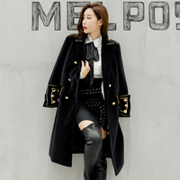 2018 Women autumn winter double breasted military army mink wool coat British style Designer work business Blends Coat outwear