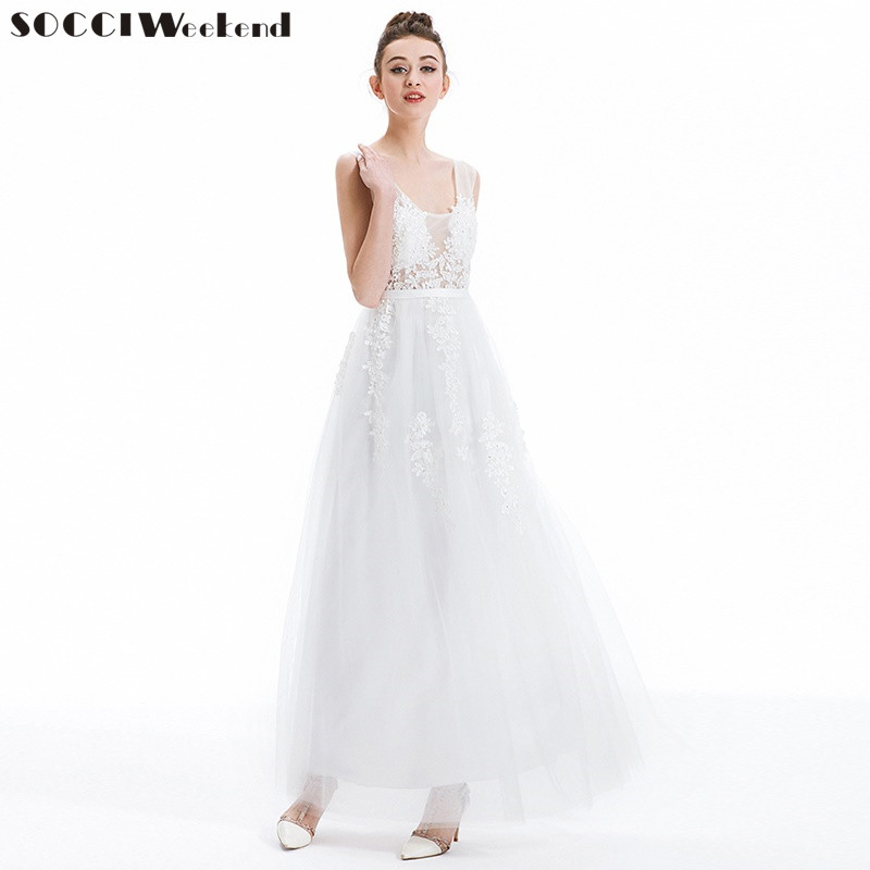 SOCCI Gray Lace Beading Long Evening Dress Sexy backless Formal bride Elegant banquet  Dresses Floor-length wedding Party Gowns