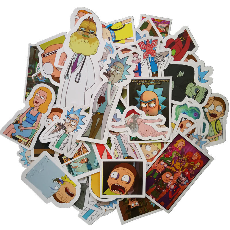 49Pcs lot Drama Rick and Morty Stickers Decal For Snowboard Laptop Luggage Car Fridge Car