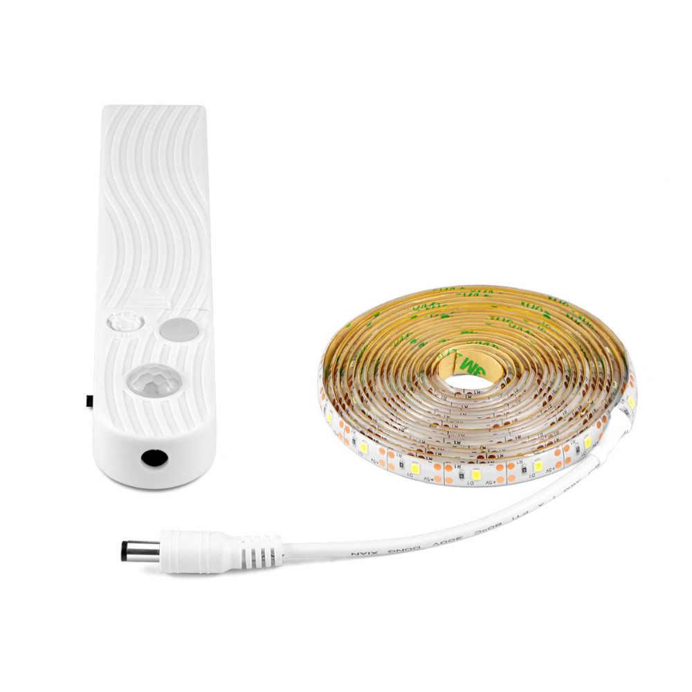 DC5V PIR MOTION SENSOR LED Lampu Strip 3528 Tempat Tidur Lemari Kabinet Lemari Light 1 M 5 M 5 V Lampu Strip LED dengan Adaptor + Swithch untuk TV Backlight