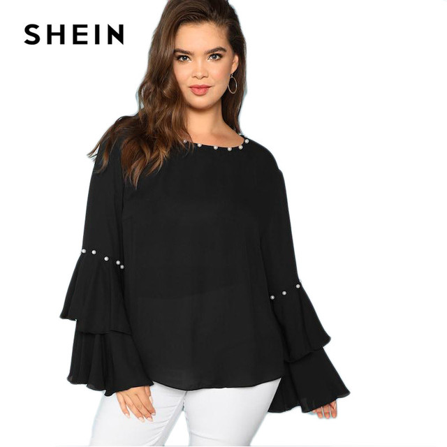 SHEIN Pearls Embellished Layered Ruffle Sleeve Plus Size Women Black Blouse 2018 Fashion Beaded Detail O-Neck Top Blouse 5