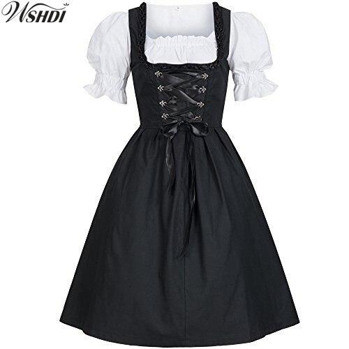 2018 New Ladies German Beer Maid Wench Dirndl Costume Oktoberfest Costume Puff Sleeves Back Bow Lacing Up Biergarten Dress