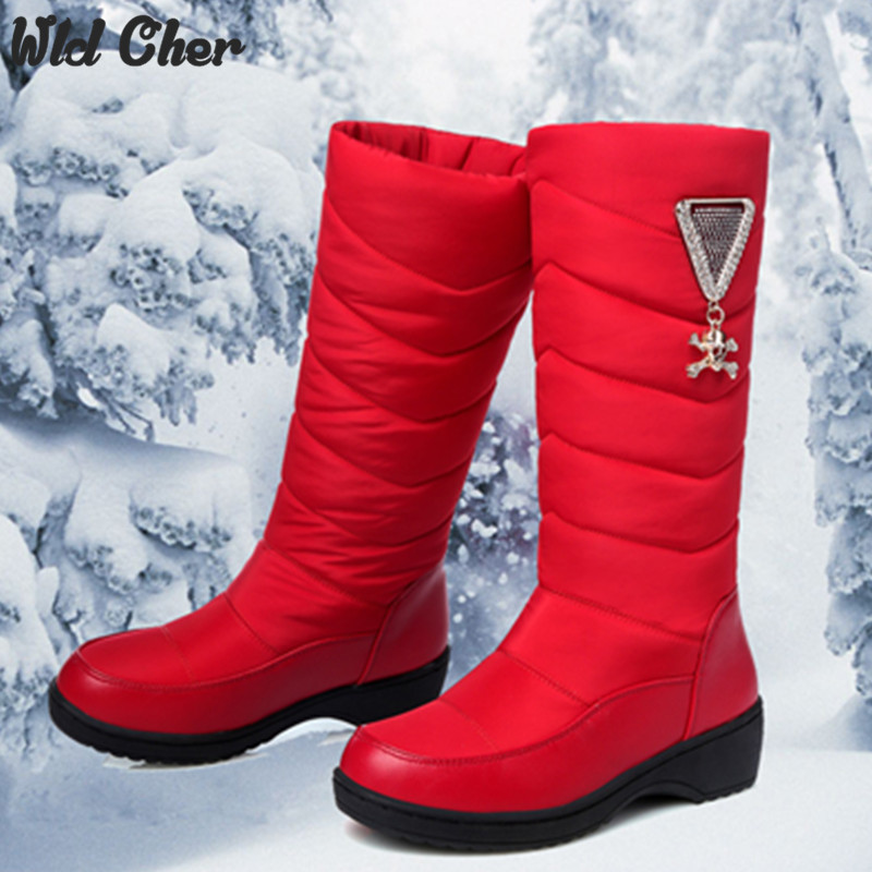 ФОТО Wedges 2017 Cotton fashion waterproof snow boots women's knee high boots flat winter boots platform fur shoes women size 34-44