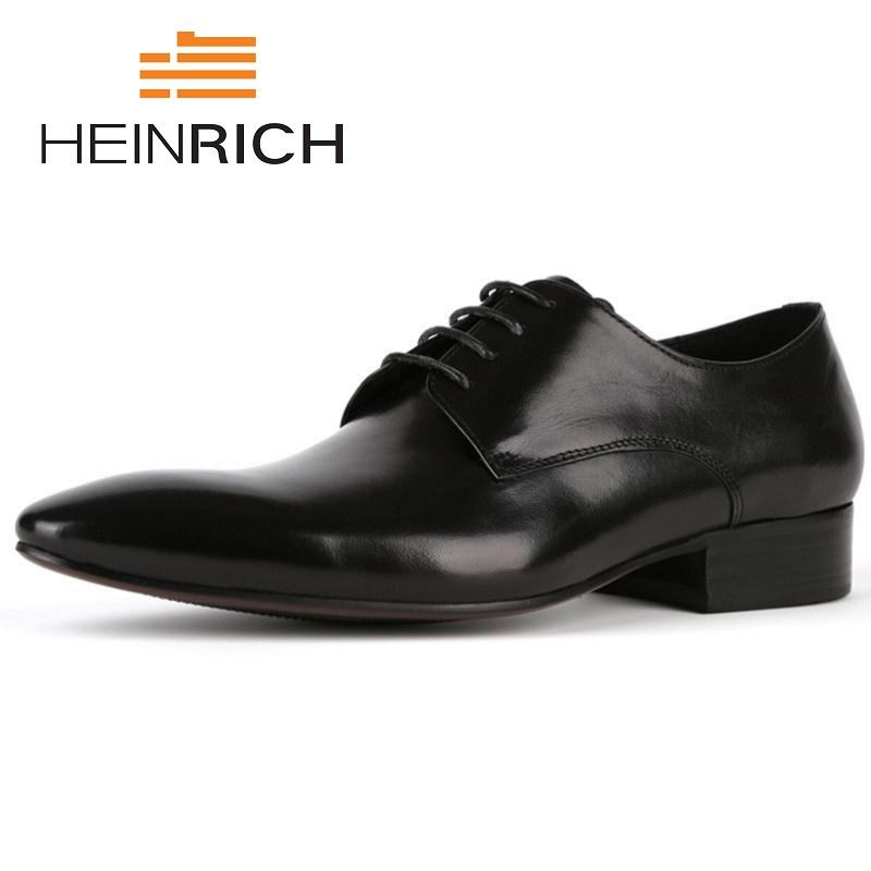 HEINRICH New Men Shoes Business Leisure Leather Wedding Shoes Lace Up Genuine Leather Pointed Toe Black Breathable Derby Shoes classic men s genuine leather shoes cowhide leather pig inner pointed toe derby dress wedding business shoes 2018 fashion
