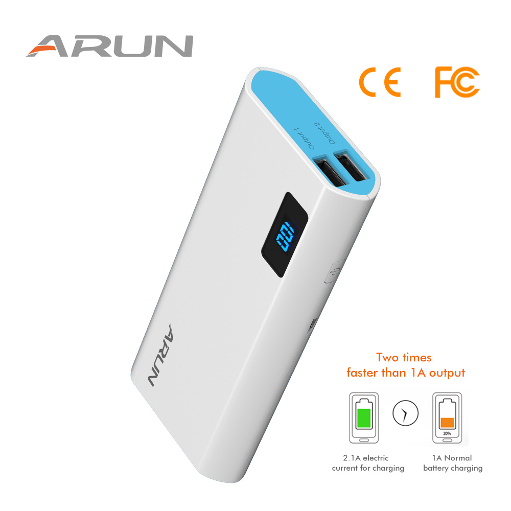 ARUN 10000mah Portable Charge for Phones Battery Cell Y50 Charging Charger Type C input External Battery