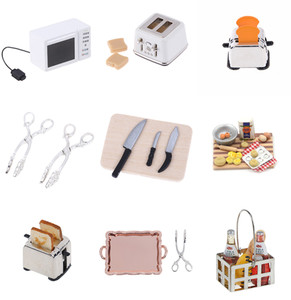 New Microwave Food Bread Cooking Board Knife Chopping Block Pretend Play Kitchen Toy 1: 12 1:6 Scale Miniature For Doll House(China)