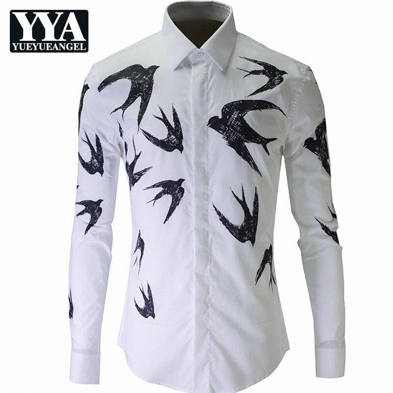 New Luxury Print Shirt Men Top Autumn Winter Slim Swallow Shirts Mens White High Quality Business Casual Cotton Man Shirt