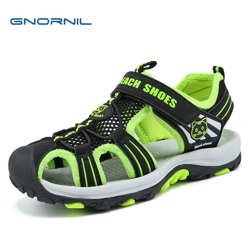 GNORNIL Brand Kids Shoes Boys Sandals 2018 Summer Breathable Mesh Children Sandals Boys Shoes Big Kids Casual Sport Beach Shoes