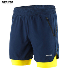 ARSUXEO 2019 Men Running Shorts 2 in 1 Quick Dry Active Training Exercise Jogging Sports Gym Breathable B191