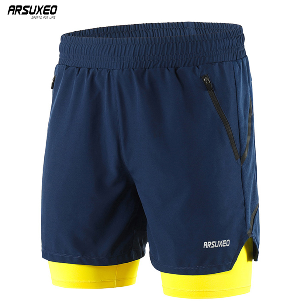 ARSUXEO 2019 Running Shorts Men Active Training Exercise Jogging 2 In 1 Sports Shorts With Longer Liner Quick Dry B191