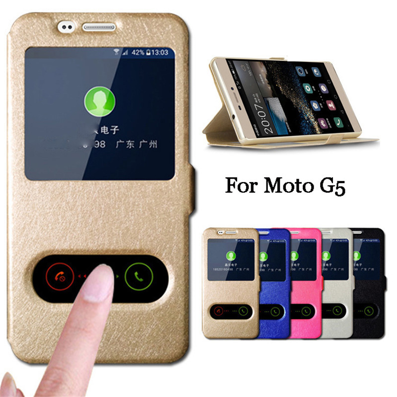For Moto G5 Case 5 0 inch Quick Answer View Window Flip Silk PU Leather Case For Motorola Moto G5 Cover Phone Cases Capa Para in Flip Cases from Cellphones Telecommunications
