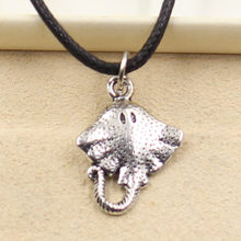 New Fashion Tibetan Silver stingray fish Pendant Necklace Choker Charm Black Leather Cord Factory Price Handmade jewelry(China)