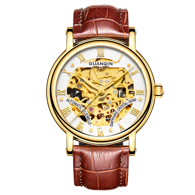 GUANQIN GJ16053 watches men luxury brand gold watch business male double-sided hollow leather belt automatic mechanical watch orkina kc023 double sided hollow automatic mechanical men s wrist watch black silver coppery