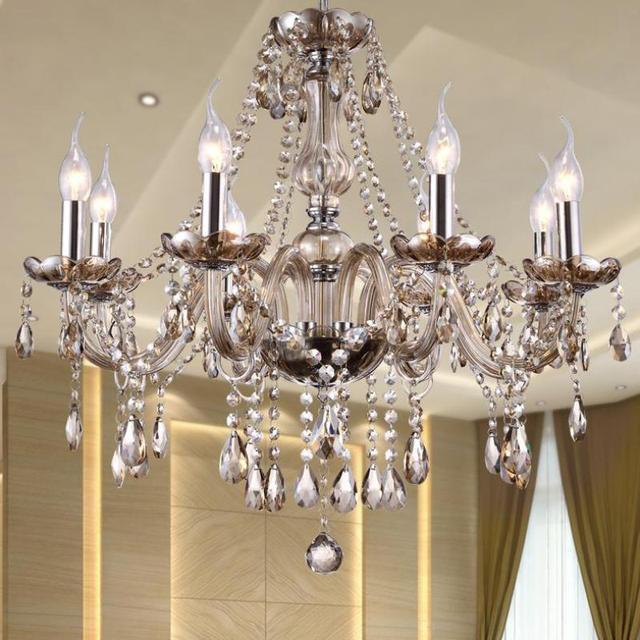 6 12 Pcs Led Vintage Dining Room Chandelier Lighting Indoor Cognac Gl Crystal Lamp