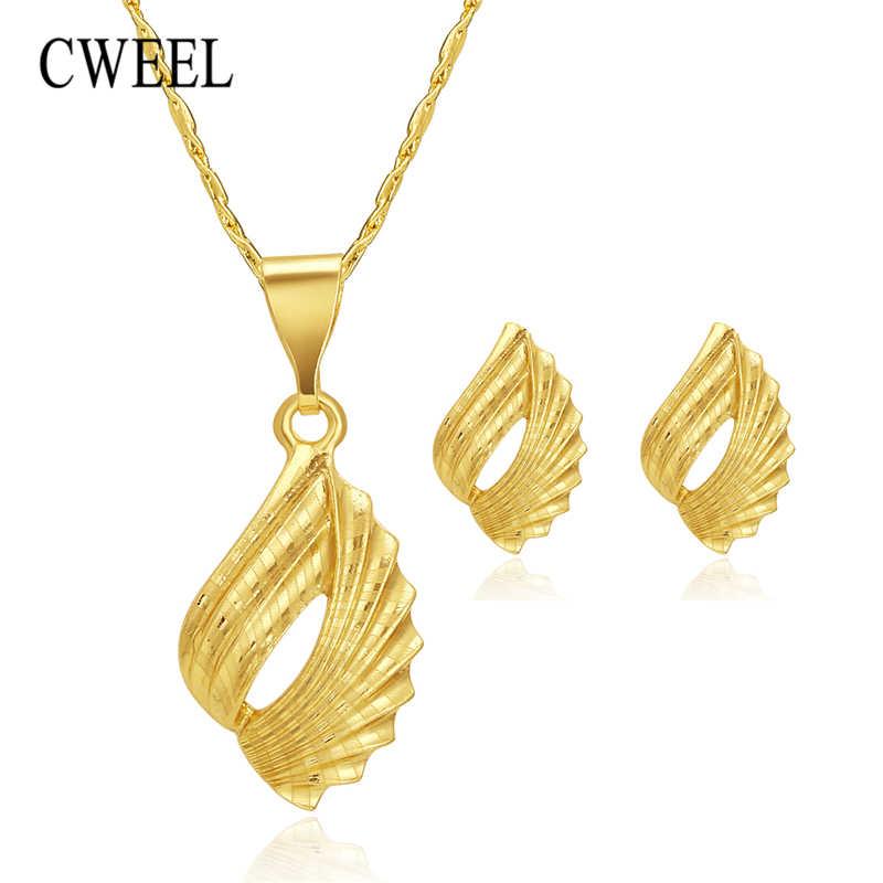CWEEL Schmuck Set Für Frauen Afrikanische Perlen Schmuck-Set Hochzeit Choker Halskette Ohrringe Braut Dubai Äthiopischen Schmuck Sets