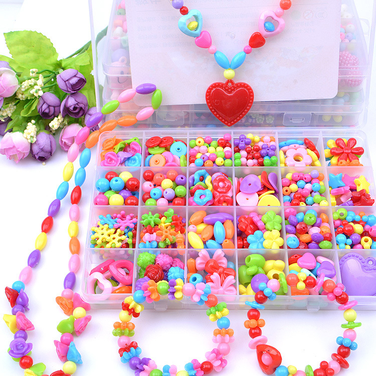 Plastic Acrylic Bead Kit Accessories DIY Bracelects Jewelry Making Toys Early Learning Funny Beads Set For Girls Handmade Gift