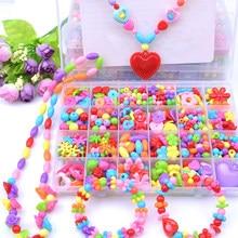 Juego de cuentas acrílicas de plástico para niñas, accesorios DIY, pulseras, juguetes para hacer joyas, juego de cuentas para aprendizaje temprano, regalo hecho a mano