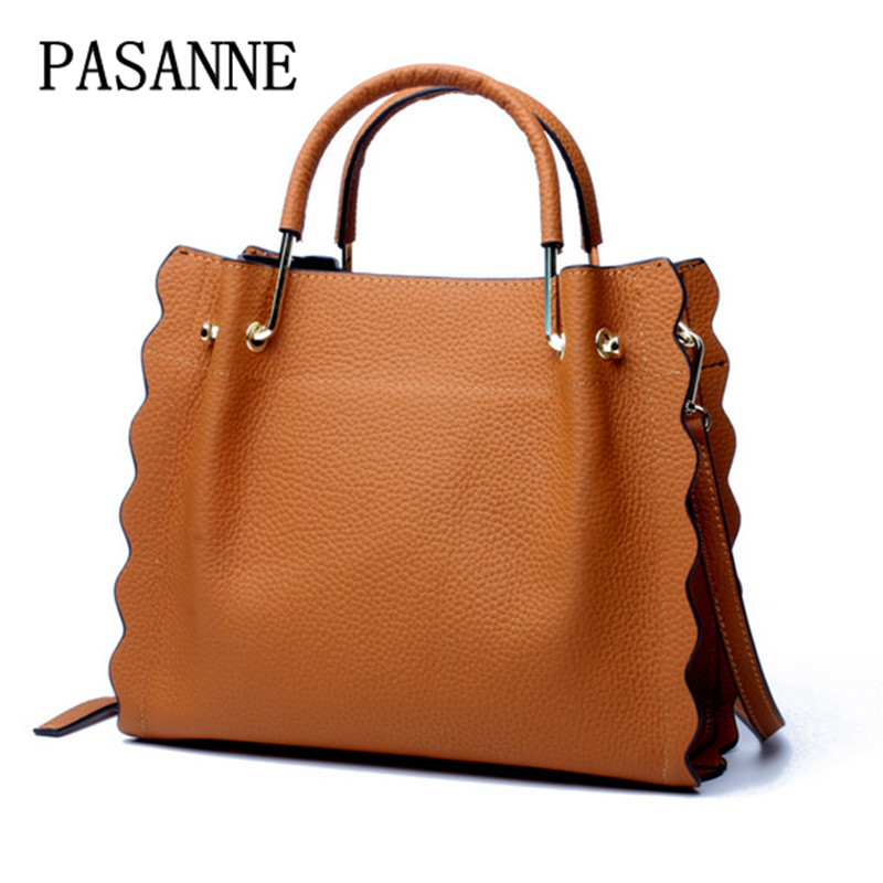 New Fashion Woman Handbags Leather 2017 PASANNE Vintage Leather Girl Handbag Genuine Leather Shoulder Bags Women Bags