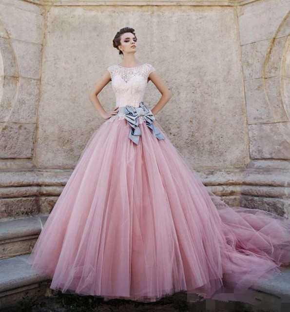a7a43a230c1 Princess Lace Sheer Beadings Cap Sleeves Pink Tulle Quinceanera Dresses  Sweet Sixteen Long Prom Party Gowns