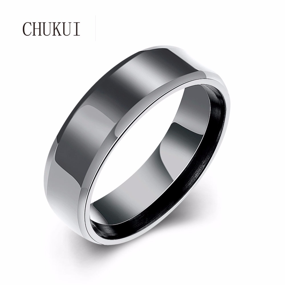 9mm Wedding Band 1 4 Ct Tw Black Diamonds Stainless Steel: CHUKUI 6mm Black Stainless Steel Rings For Men High