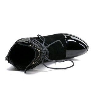 Image 4 - JIANBUDAN marka moda PU skórzane damskie buty motocyklowe jesień skórzane sznurowane botki kobiece buty zimowe śnieg 35 43