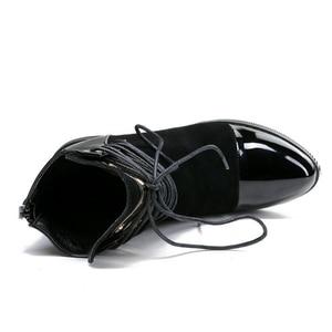 Image 4 - Jianbudan Brand Fashion Pu Lederen Vrouwen Motorlaarzen Herfst Leather Lace Up Enkel Laarzen Vrouwelijke Winter Snowboots 35 43