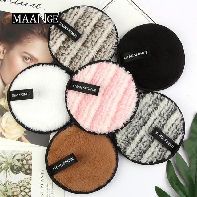 MAANGE Profissional Removedor De Maquiagem Sopro Pano De Microfibra Pads Removedor Toalha Rosto Reutilizável Puff Esponja de Limpeza Super Macio