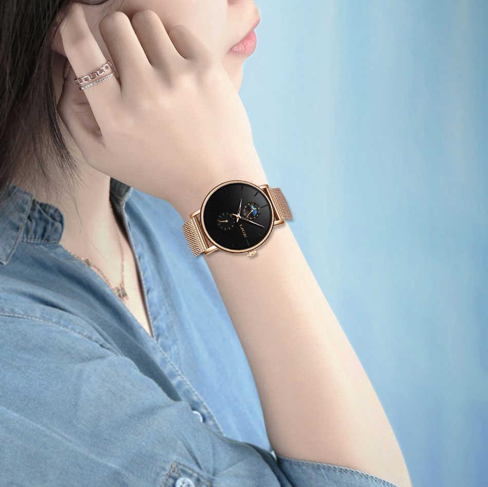 LIGE femmes montres haut de gamme marque de luxe étanche montre de mode dames en acier inoxydable Ultra-mince décontracté montre-bracelet Quartz horloge