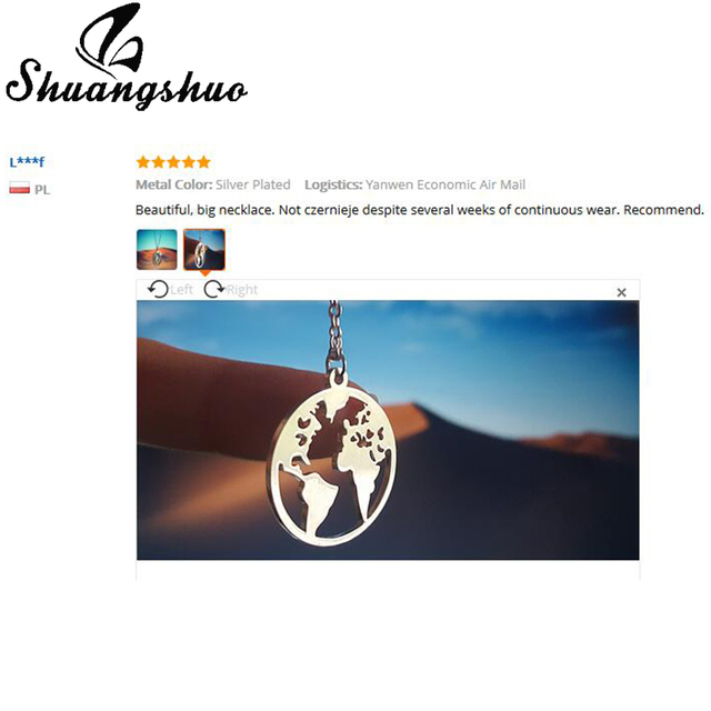 Shuangshuo Vintage Origami World Map Necklace Women 5