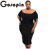 Gosopin Off Shoulder Dress Sexy Club Robes Femme Black Rosy Short Sleeve Fringe Top Strecth Plus