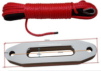 Free Shipping Red 5mm 15m ATV Winch Cable With 4000lbs Hawse Fairlead Synthetic Winch Rope Kevlar