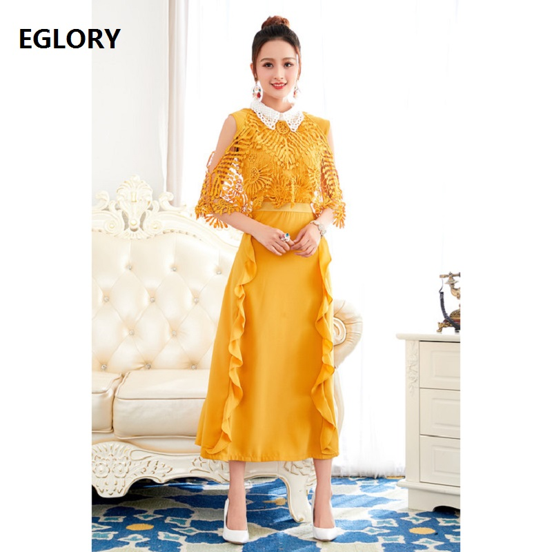 One Piece Dress New Arrival 2018 Summer Party Special Occasion Women White Turn-down Collar Lace Embroidery Sexy Yellow Dress