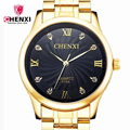 Chenxi relógio de luxo homens de aço inoxidável relógio de ouro genuíno relógio marca de quartzo relógio de pulso homem mens relojes hombre 013ipg