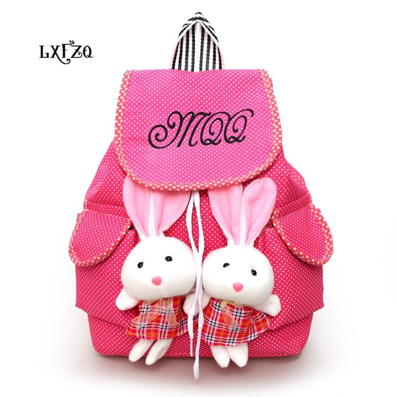 Backpack For Children School Bags 2 Rabbits Children's Backpacks Canvas Bag Mochila Infantil School Knapsack Pockets For Student