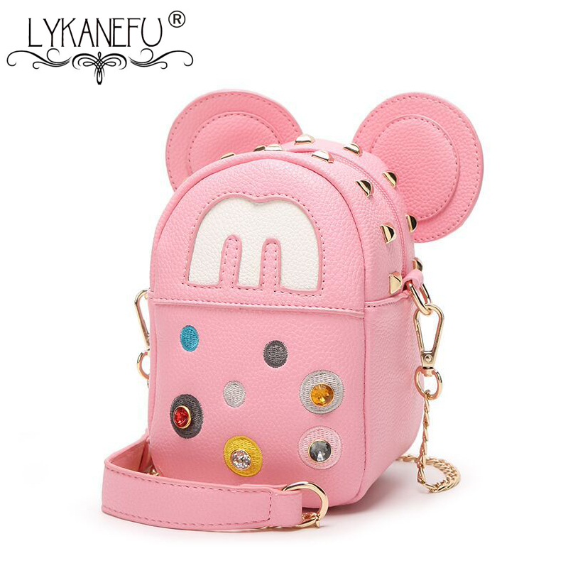 LYKANEFU MOUSE Cartoon Mini Cute Women Messenger Bag Small Girls Handbag Flap Cross Body Shoulder Bags Purse with Chain Strap women designer shoulder bags ladies mini transparent jelly flap bag girls cute cartoon chains beach bag bolsos femininas