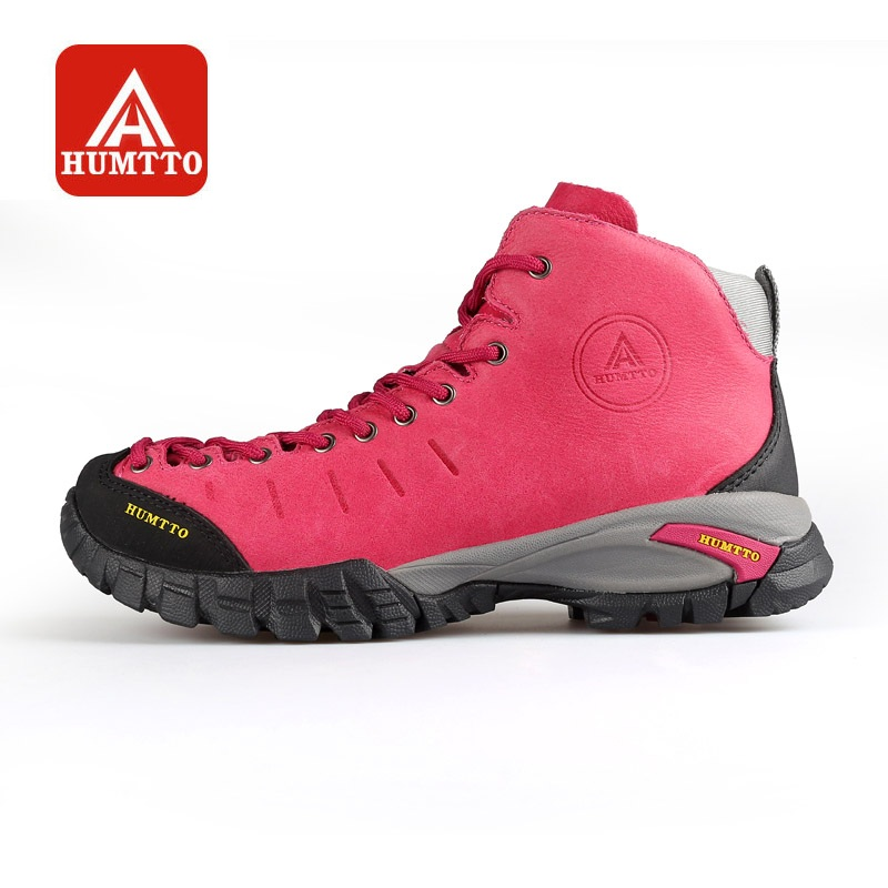 HUMTTO Hiking Shoes Women Outdoors Walking Climbing Boots Winter Sneakers Camping Sports Leather Lace up Waterproof