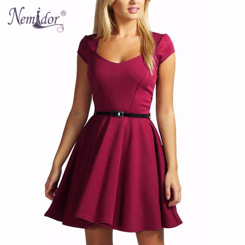 Nemidor 2016 New Arrival Women Elegant V Neck Solid Retro Mini Dresses Casual Short Sleeve Party
