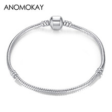 07b5928f9210 Anomokay 2018 plata caliente plateado básica serpiente pulsera de cadena  Diy encanto joyas no se desvanecen Original Pandora pul.