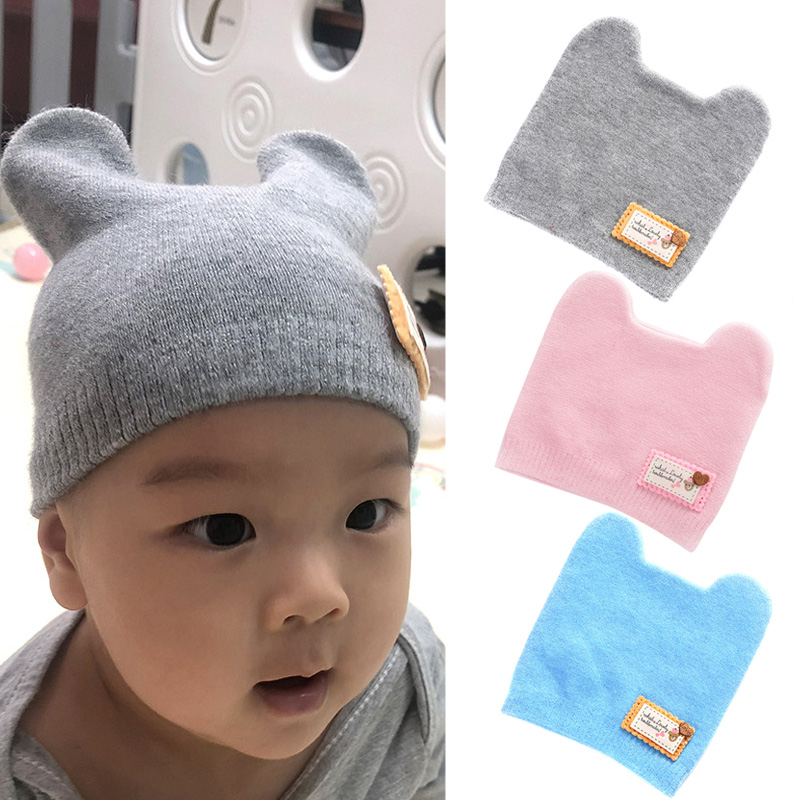 Children Winter Warm Knitted Beanie Cap Cute Cat Ear Decoration Soft Beanie FS99