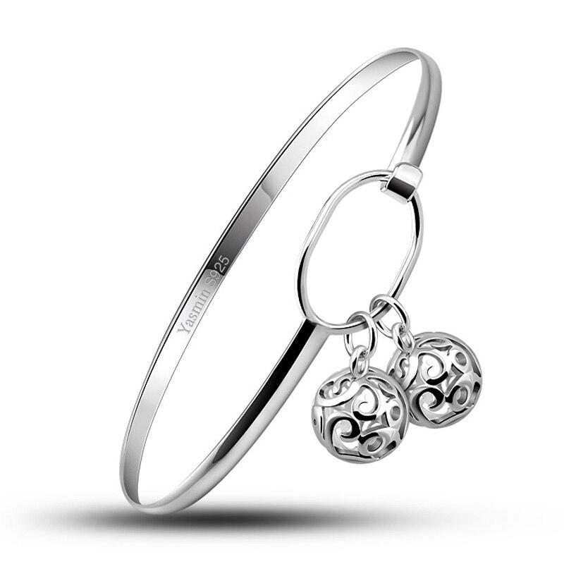 Fashion bracelet sterling silver girl.Solid 925 silver women bracelet.Lovely hollow ball pendant bracelet.Charming lady jewelry