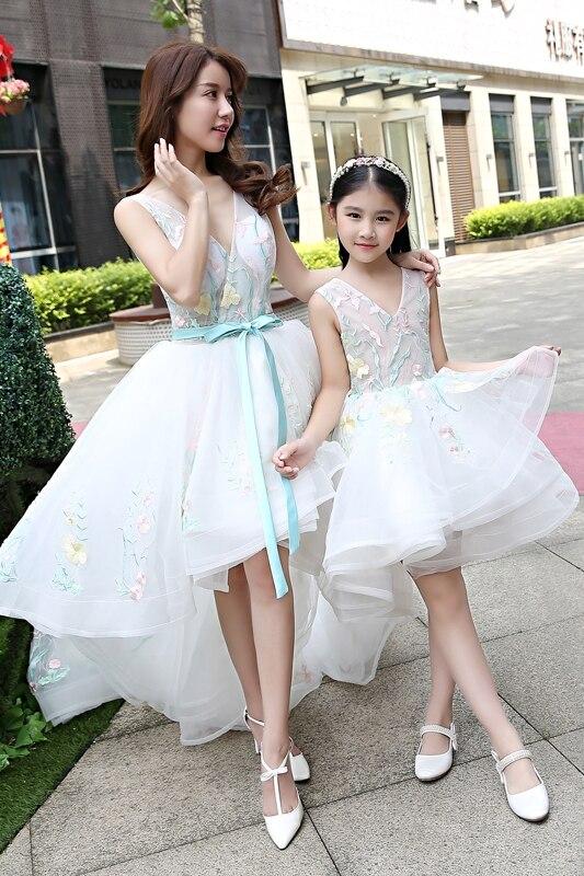 Trajes a juego para la familia mamá madre hija vestido de novia niñas RufflesTutu vestido falda vestido para madre e hija Color blanco - 6