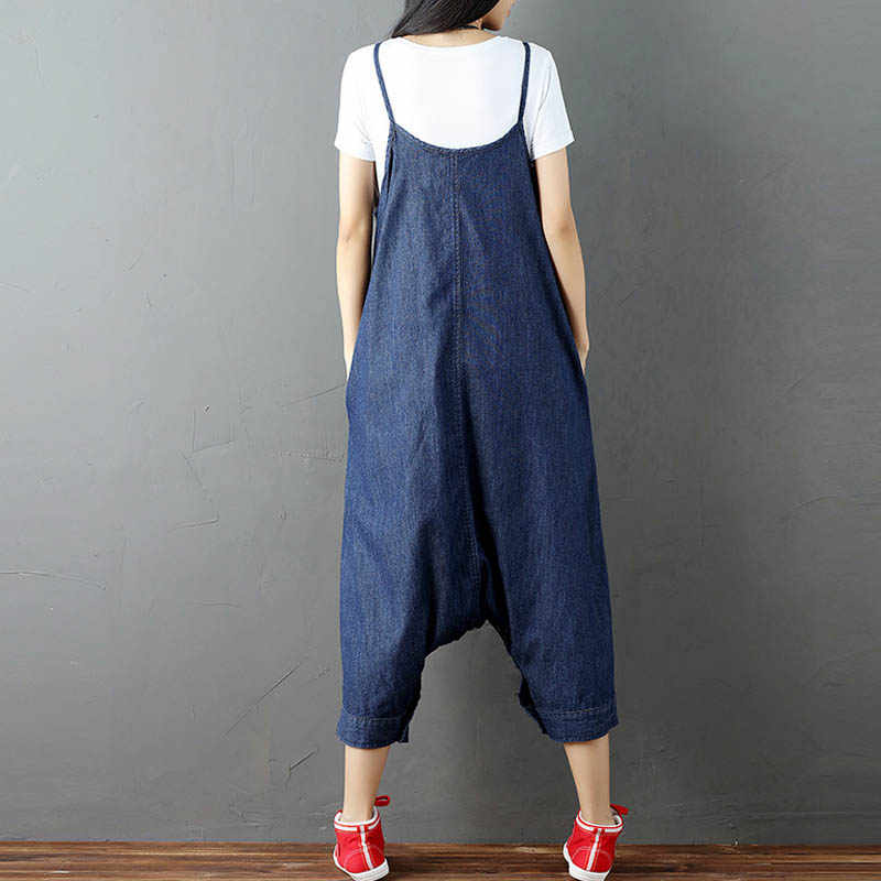 08688826c6ca ... ZANZEA Women Strappy Sleeveless Harem Romper Loose Dungarees Overalls  Denim Blue Linen Suspender Jumpsuit Solid Bib ...