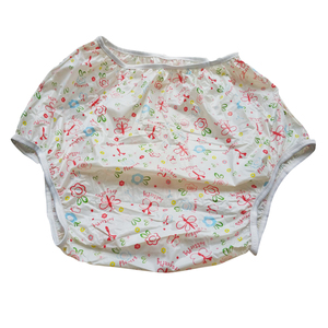 Image 4 - Adult Size Butterfly Pink Pull Up PVC Diaper Plastic Pants Incontinence Briefs