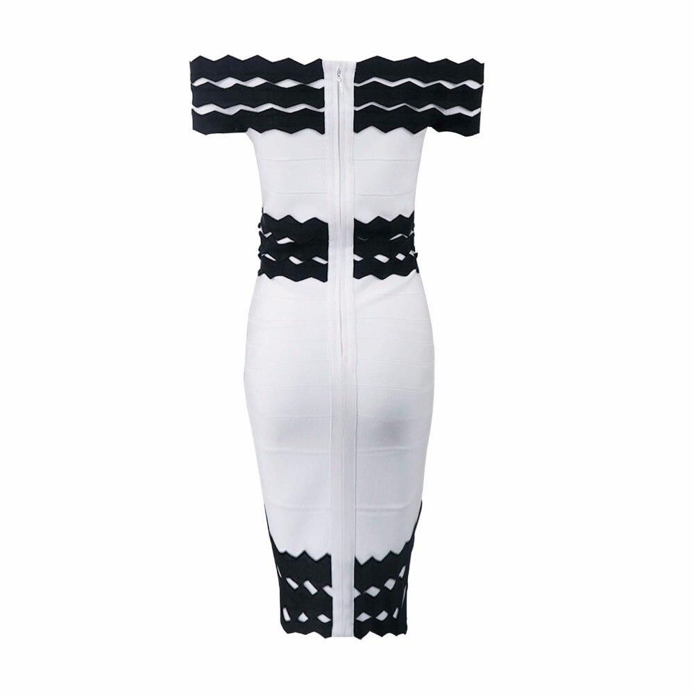 Bianco A Fasciatura Spalle Donne Nero 2017 Party Dalla Sexy Vestito Elastico Delle Maglia Dress Lavorato Estate gPBX4a
