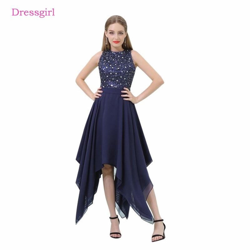 Navy Blue 2019   Prom     Dresses   A-line Tea Length Chiffon Sequins Crystals Long Women   Prom   Gown Evening   Dresses   Robe De Soiree