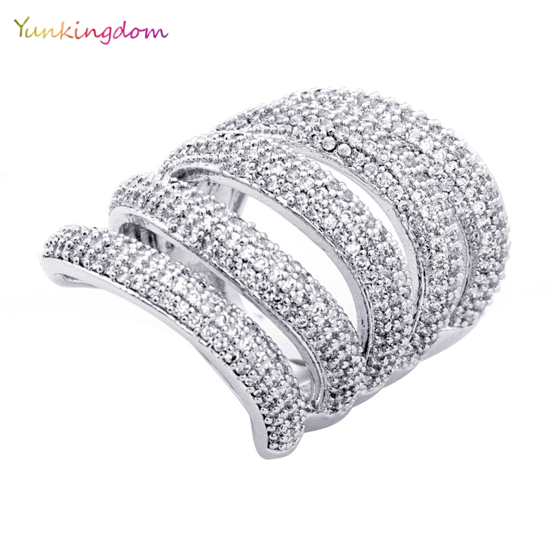 Yunkingdom silver color luxury engagement wedding rings for women big cubic zirconia fine ring jewelry 2018 anillos mujer men wedding band cz rings jewelry silver color anillos bague aneis ringen promise couple engagement rings for women