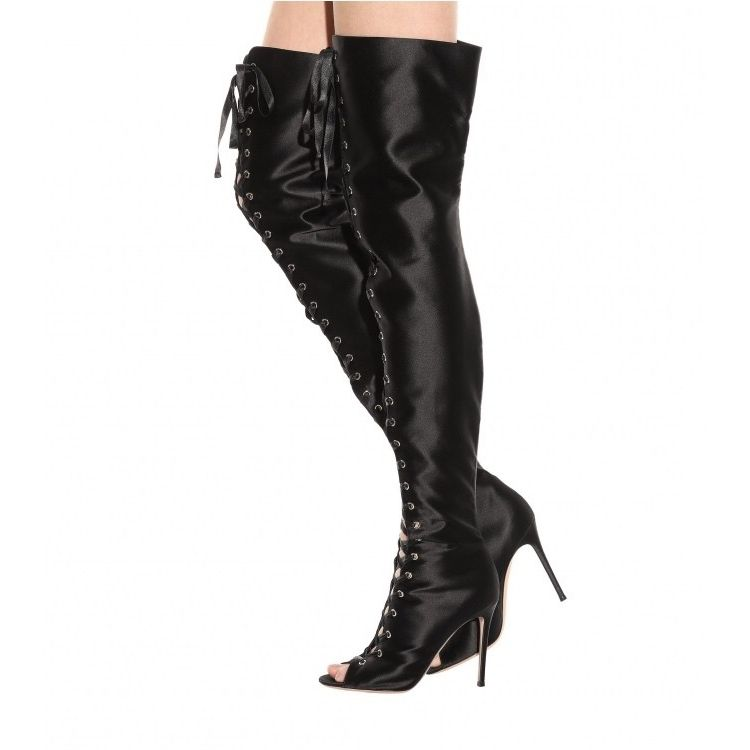 de465dfb795 2017 Fall Winter New Designer Over-the-knee Boots Shiny Satin Fabric Peep  Toe Long Sandals Ribbon Lace-up Sexy Thigh High Boots