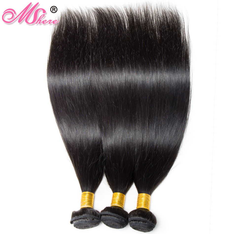 Straight Hair Bundles 100% Human Hair Bundles 3PCS/LOT Peruvian Non-Remy Hair Weave Extensions Natural Black Color Mshere Hair