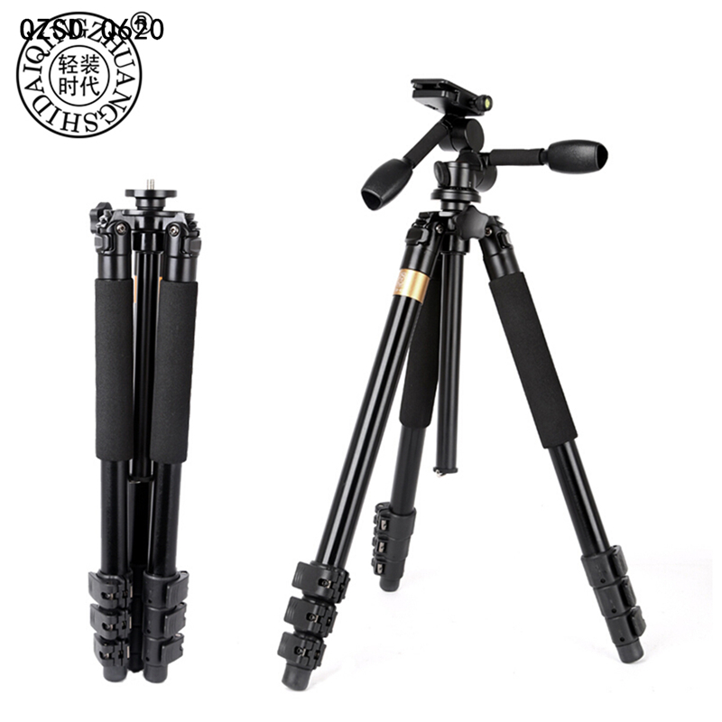 все цены на QZSD Q620 Q999S Q999 Professional DSLR Video Camera Tripod Panoramic Head Stable Stand for Telephoto Lens Recorder Camcorder онлайн